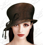 Bubble Cloche Hat With Rhinestone Knot Bow - 9 Colors