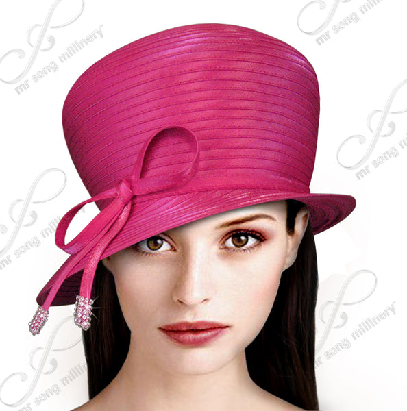 Mr. Song Millinery Bubble Cloche Hat With Rhinestone Knot Bow - 4 COLORS