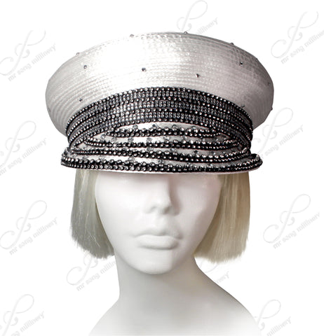 "Rhinestoned ""Captain"" Style Bib Hat - 4 Colors"