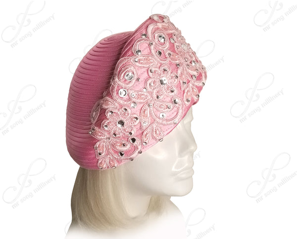 Mr. Song Millinery All-Season Beret Cloche Hat With Premium Lace & Rhinestones - 2 Colors