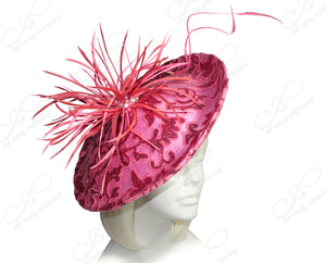 Mr. Song Millinery All-Season Lace Sinamary Profile Dome-Dish Headband Fascinator - Coral Pink