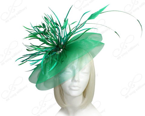 All-Season Crin Profile Headband Fascinator - Emerald Green