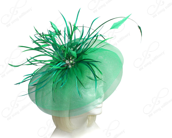 Mr. Song Millinery All-Season Crin Profile Headband Fascinator - Emerald Green