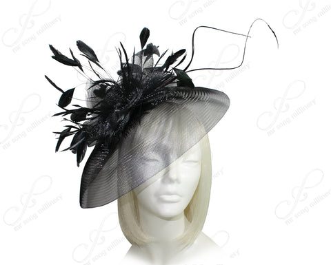 All-Season Profile Crin Headband Fascinator - Black