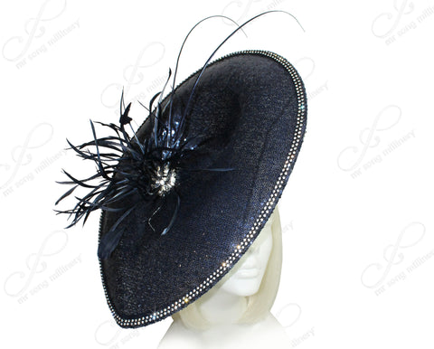 Derby/Ascot Sinamay Profile Teardrop Fascinator - Navy Blue