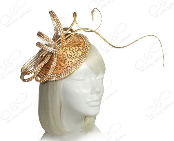 Mr. Song Millinery All-Season Profile Petite Dish Fascinator Headband - Yellow Gold