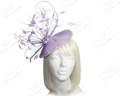 Mr. Song Millinery Profile Dish Fascinator Headband - Lavender