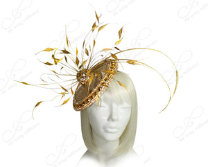 Mr. Song Millinery All-Season Profile Dish Fascinator Headband - Aurum Gold