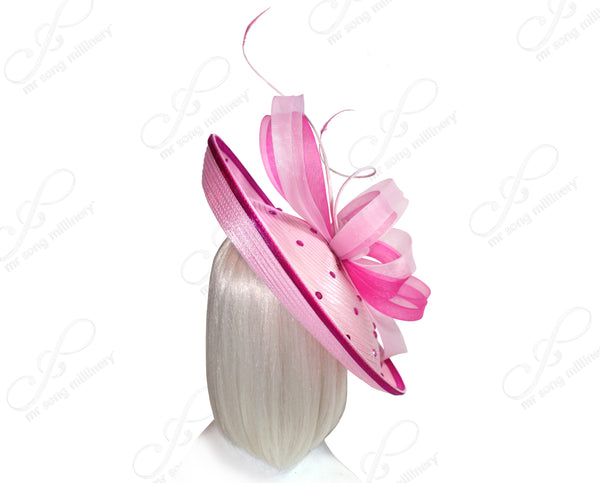 Mr. Song Millinery All-Season Profile Dish Headband Fascinator - Pink