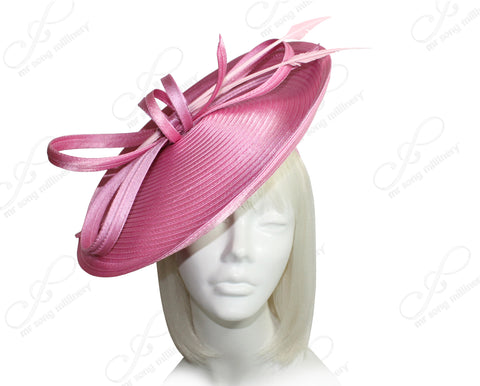 All-Season Profile Dish Headband Fascinator - Rose Pink