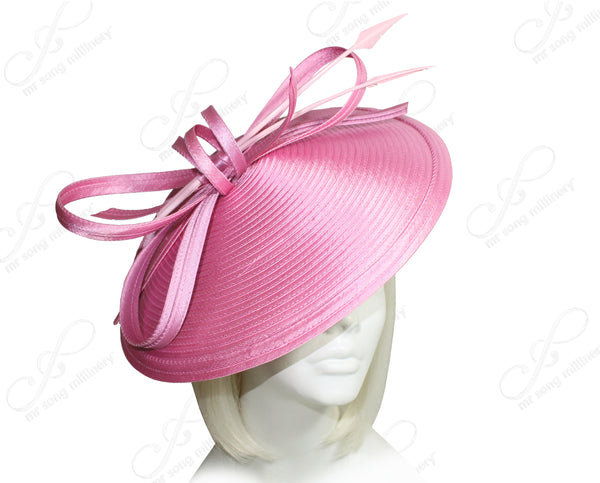 Mr. Song Millinery All-Season Profile Dish Headband Fascinator - Rose Pink