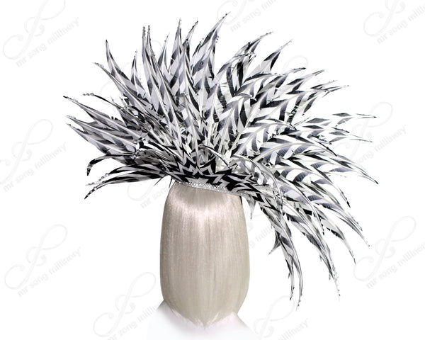 "Mr. Song Millinery Feather & Crystal Rhinestone Fascinator Headband ""Empress"" - White/Black"