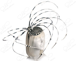 Mr. Song Millinery All-Season Profile Fascinator Headband - Black/White