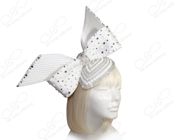 Mr. Song Millinery All-Season Beaded Petite Profile Headband Fascinator - 2 COLORS