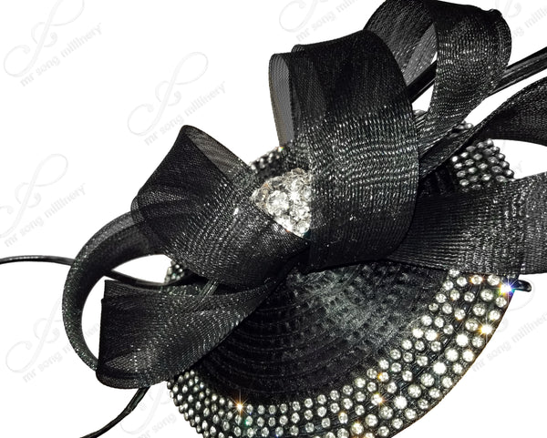 Mr. Song Millinery All-Season Profile Petite Dish Fascinator Headband - Black