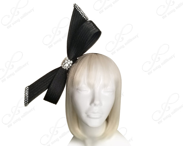 Hand-Knot Ribbon Bow Cyrstal Rhinestone Fascinator Headband - 3 Colors
