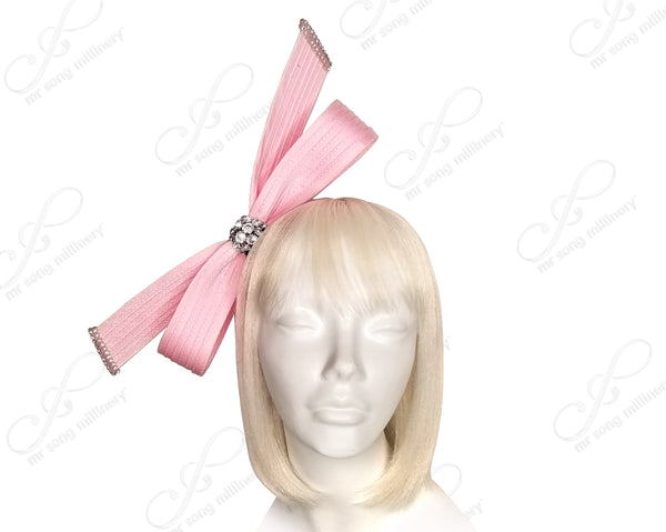 Mr. Song Millinery Hand-Knot Ribbon Bow Cyrstal Rhinestone Fascinator Headband - 3 Colors
