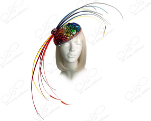 "Profile Fascinator Headband ""Bird Of Paradise II"" - Multicolor Rainbow"
