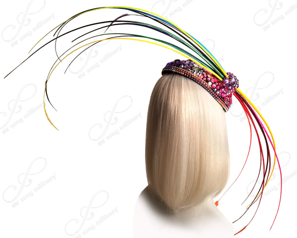 "Mr. Song Millinery Profile Fascinator Headband ""Bird Of Paradise II"" - Multicolor Rainbow"