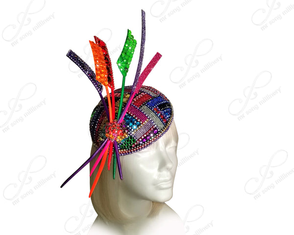 "Mr. Song Millinery All-Season Beaded Fascinator Headband ""Contessa"" - 2 Colors"