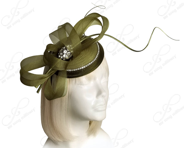 All-Season Petite Profile Dish Fascinator - Olive Green