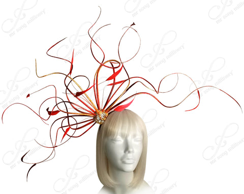 Mr. Song Millinery Meduse Amuse Bijou Fascinator - Red/Gold