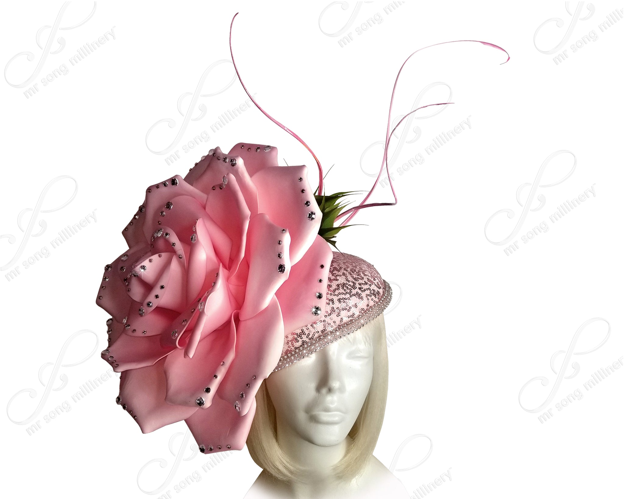 Peony Flora Profile Beanie Fascinator Headband - Pink