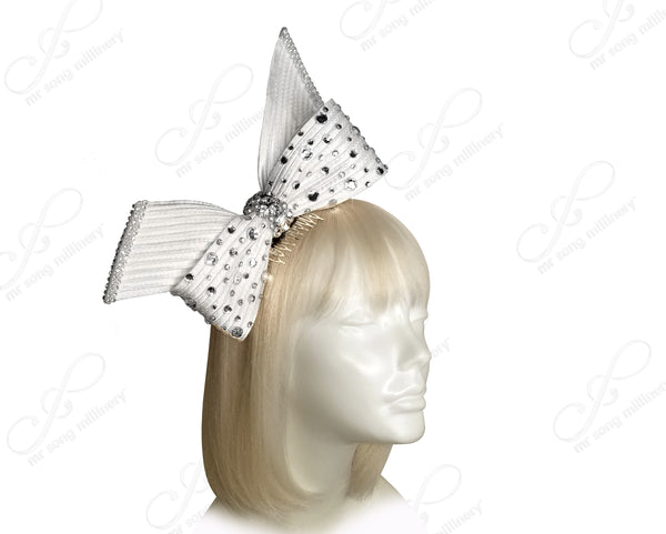 Knot Ribbon Bow Fascinator Headband - White