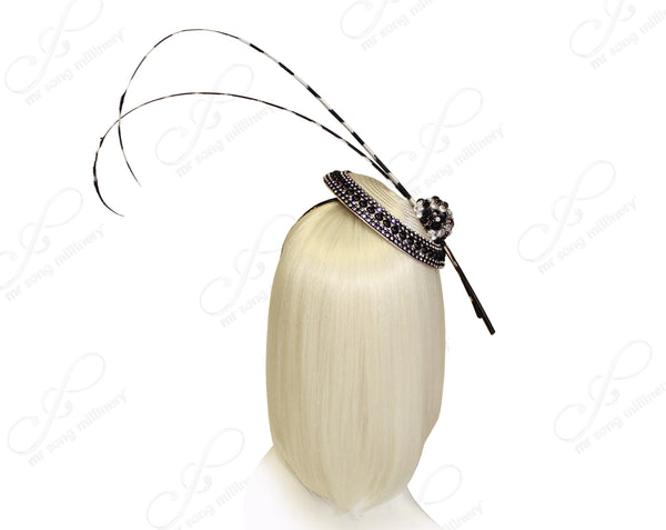 All-Season Profile Petite Dish Fascinator Headband - Black/Off-White
