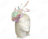 Organza Peony Fascinator Headband With Signature Accents - Multicolor