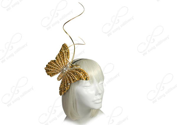 Mr. Song Millinery Papillon Butterfly Profile Fascinator Headband - 2 COLORS
