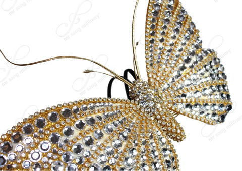Mr. Song Millinery Papillon Profile Fascinator Headband - Gold