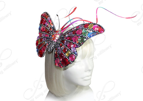 Mr. Song Millinery Butterfly Papillon Profile Fascinator Headband