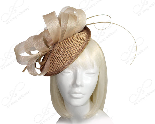 Mr. Song Millinery Profile Dish Straw Crin Headband Fascinator - Natural