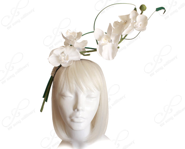 Mr. Song Millinery Orchid Jeweled Fascinator Headband - White