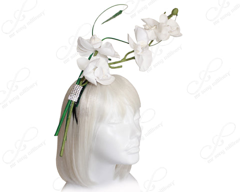Orchid Jeweled Fascinator Headband - White