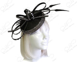 Petite Profile Dish Fascinator With Signature Accents - Black