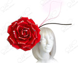 Peony Rose Jeweled Fascinator Headband - Red