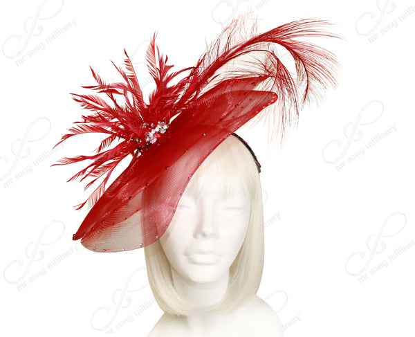 Mr. Song Millinery All-Season Crin Profile Fascinator Headpiece - Red