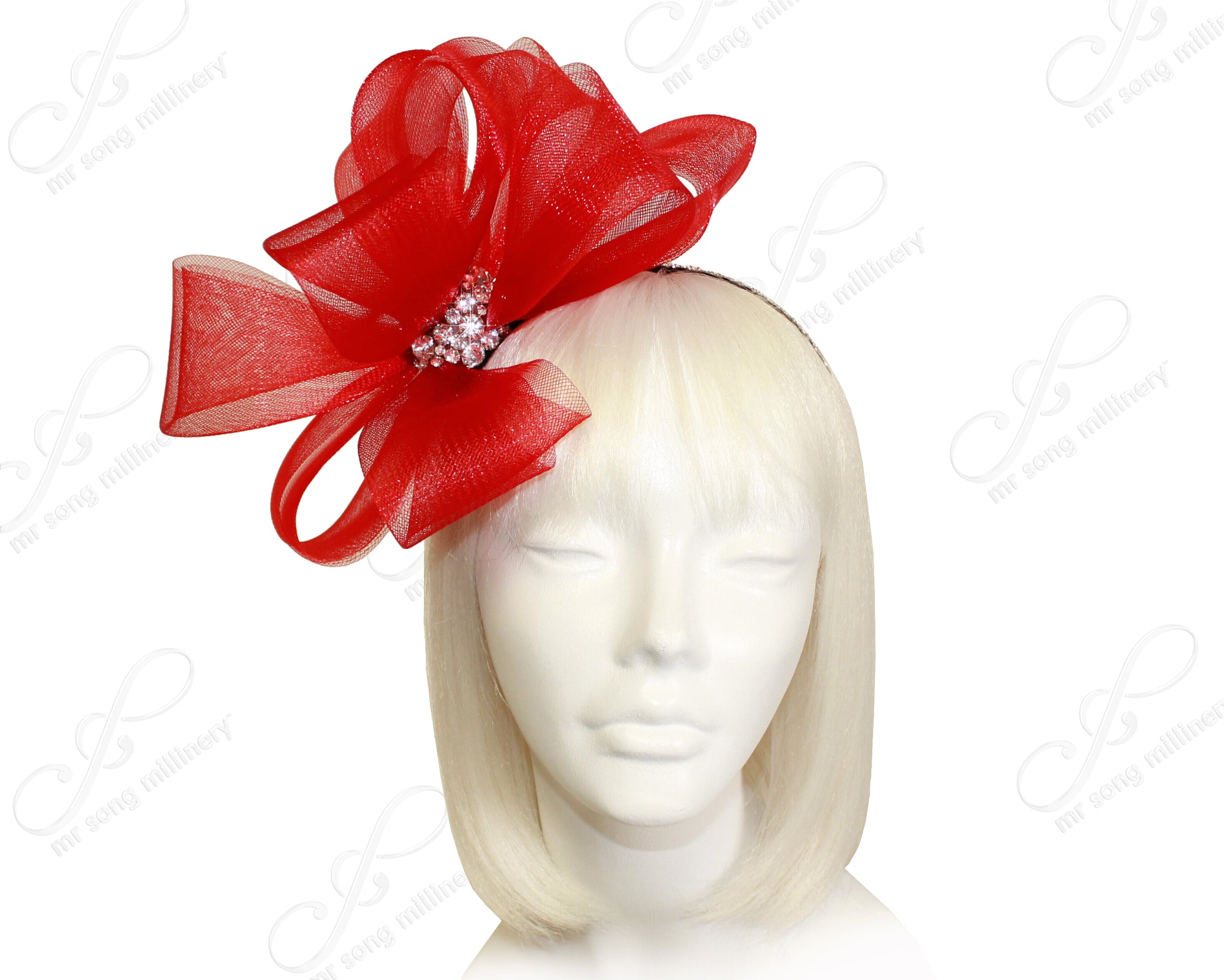 Mr. Song Millinery All-Season Crin Fascinator With Signature Accents - Red