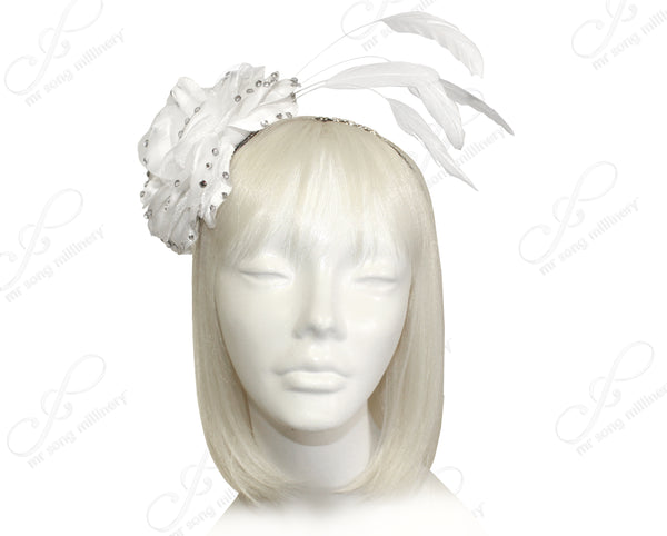 Mr. Song Millinery Organza Peony Fascinator Headband With Signature Accents - 2 Colors