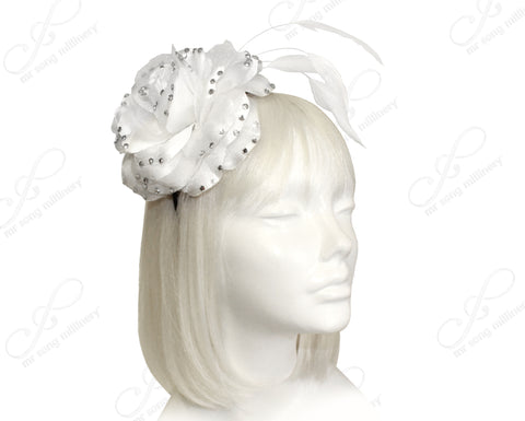 Organza Peony Fascinator Headband With Signature Accents - 2 Colors