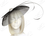 All-Season Profile Dish Crin Headband Fascinator - Black