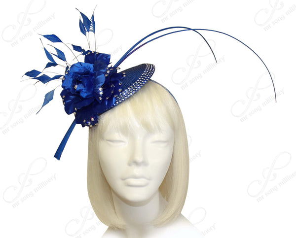 Mr. Song Millinery Profile Dish Beanie Fascinator Headband - Sapphire Blue