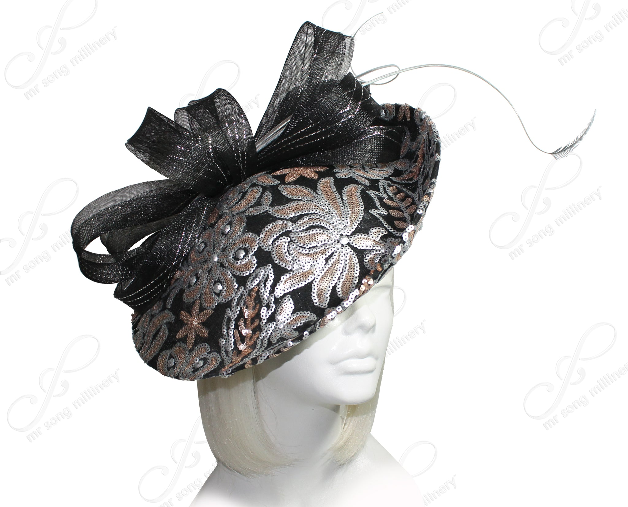 Mr. Song Millinery All-Season Lace Sinamary Profile Dome-Dish Headband Fascinator