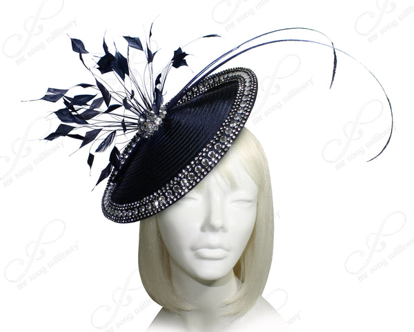 Mr. Song Millinery All-Season Profile Dish Fascinator Headband - Navy Blue