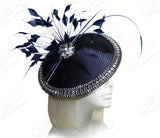 All-Season Profile Dish Fascinator Headband - Navy Blue