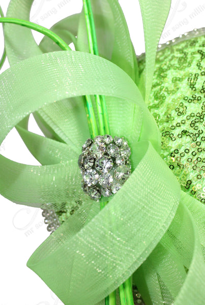 Mr. Song Millinery All-Season Lace Sinamary Petite Profile Dish Fascinator - Lime Green