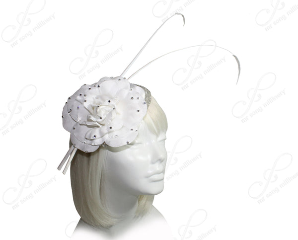 Mr. Song Millinery All-Season Sinamary Petite Profile Dish Fascinator - White
