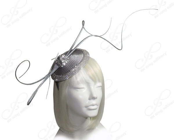 Mr. Song Millinery All-Season Petite Profile Dish Fascinator - Grey